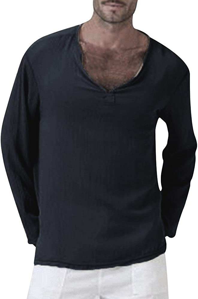 XXBR Long Sleeve V Neck T-shirts for Mens, Solid Thai Hippie Shirt Plus Size Cotton Wrinkle Casual Comfy Beach Tee Tops