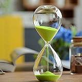 Winterworm– Clessidra con sabbia di vari colori, in vetro, grande, per la decorazione della casa. 5 Minutes Verde