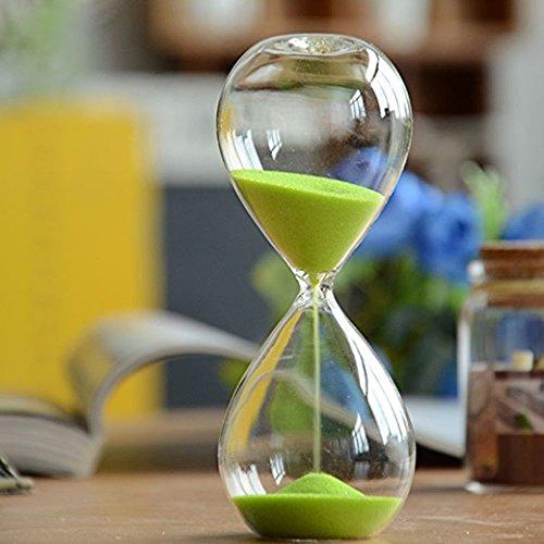 Winterworm– Clessidra con sabbia di vari colori, in vetro, grande, per la decorazione della casa. 10 Minutes Verde