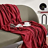 SLEEP ZONE Flannel Fleece Blanket Queen Size Bed Blanket Lightweight Super Soft Fuzzy Warm Cozy Premium Bed Throw Plush Microfiber Blanket (90'x90', Burgundy)