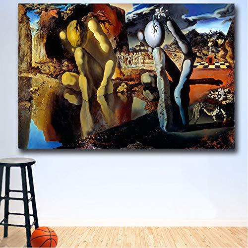 mohanshop Arte De La Pared De Wxkoil La Metamorfosis De Narciso Dali Pintura Al Óleo De La Pared Impresión Bonita Imagen De La Pared para La Sala De Estar Sin Marco V9 (50X70Cm) Frameloos