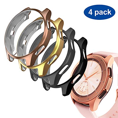 GeeRic Case Compatible with Samsung Galaxy Watch 42mm, 4 Pack TPU Slim Plated Case Edge-Around Shock-Proof Cover (Black/Space Gray/Gold/Rose Gold)