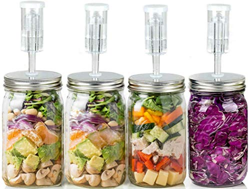 DYKL Fermentation Lids For Wide Mouth Mason Jars,Mason Jar Fermenting Lids Airlock,4 Sets,Mason Jar Fermentation Kit and Easy to Clean in Dishwasher,8 Writable Label Stickers(Excluding Jars)