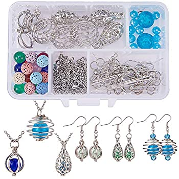 SUNNYCLUE 1 Box DIY 9PCS Hollow Bead Cage Pendant Necklace Earrings Jewelry Making Kit Aromatherapy Essential Oil Diffuser Locket Cage Charms Lava Chakra Gemstone Beads Chain Earring Hook,Instruction