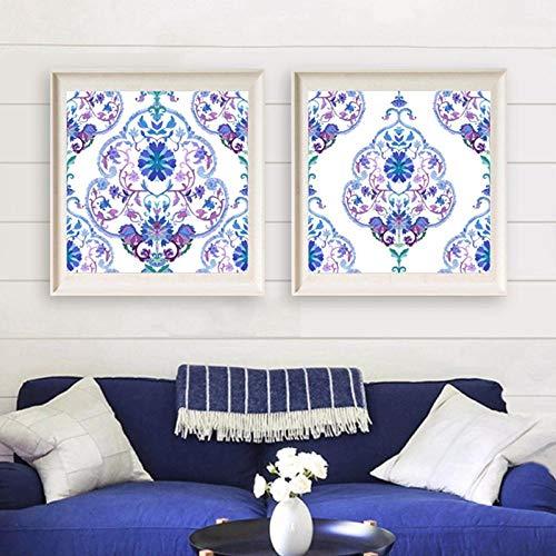 MYSY Aquarell kalte Farben Poster und Print Indian Wall Art Leinwand Gemälde türkische Kunst Bild Home Art Decor-50x50cmx2 Stück kein Rahmen