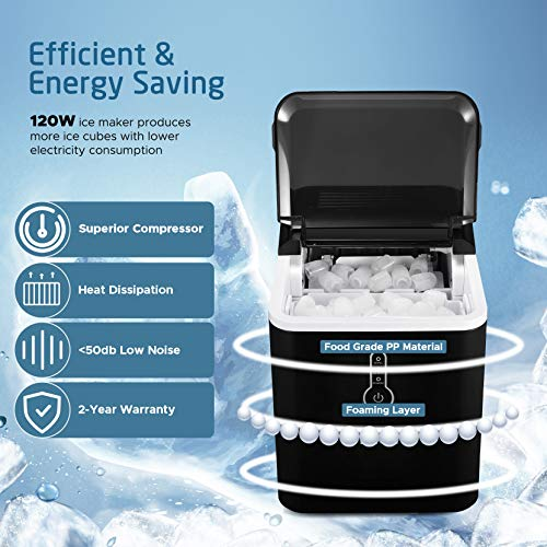 IKICH Ice Maker Countertop, 26lbs 24Hrs, 9 Cubes Ready in 7mins, Portable Electric Ice Maker with LED Indicator Lights, Ice Scoop and Basket for Home Kitchen Office Bar Party, Black