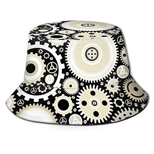 out Bright Gears and Arrows Unisex Fischerhüte Sonnenhüte Flat Top Fisherman Hat Outdoor Sonnenkappe