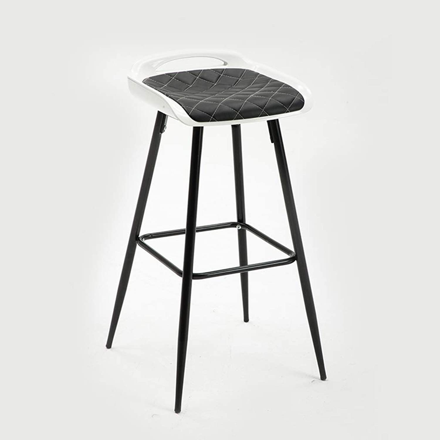 Iron Bar Chair, Restaurant Hotel Counter Bar Stool Metal Non-Slip with Backrest Bar Stool Kitchen Dining Table High Stool Height 75CM (color   Black)