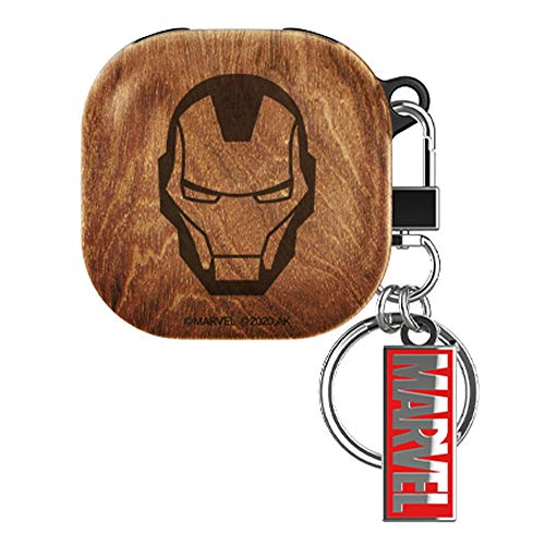 Wood Pattern Case Cover with Avengers Character for Samsung Galaxy Buds Live (Iron Man)
