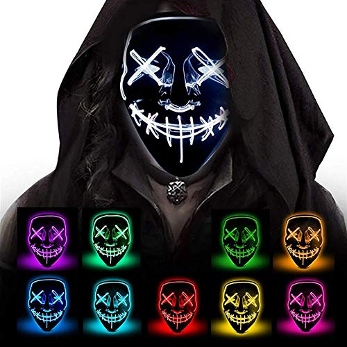 WOOTZ Máscara de Halloween LED Glow Modes El Wire Movie Costume Party Neon Adult Grimace In Dark Ave Masks Festival Cosplay