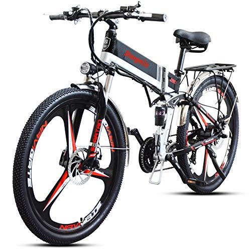 Shengmilo Bicicleta Eléctrica E-Bike, Bicicleta Eléctrica de 26 Pulgadas 350W, con Batería de Litio de 48V 10.4Ah,Shimano de 7 Velocidades,Tres Ruedas de Cuchillo,Doble suspensión,Plegable