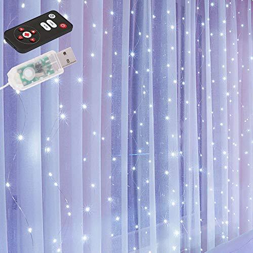 Cortina luminosa de 3 x 3 m, 300 LED, luces para cortinas con mando a distancia, 8 modos de luz, para decoración de cortina, dormitorio, Navidad, apto para exteriores e interiores (blanco)