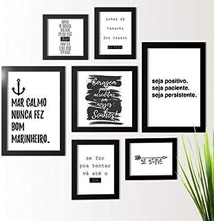 Kit de Quadros Decorativos 7 Peças Frases Motivacionais Los Quadros Preto