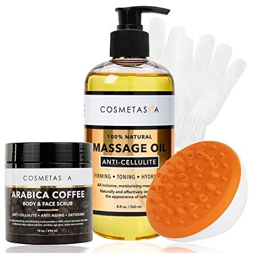 Anti-Cellulite Massage Oil, Coffee Scrub, Massager & Glove - Arabica Coffee Body & Face Scrub Exfoliating Glove & Mitt- Tone & Moisturize skin By Cosmetasa