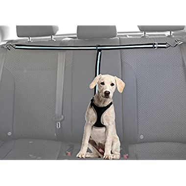 Doggy Car Zipline Restraint - Safety Seat Belt Strap – Adjustable Nylon Fabric Harness for Dog – Easy Vehicle Travel with Pet – Durable Blue & Black Leash with Carabiners, Hooks