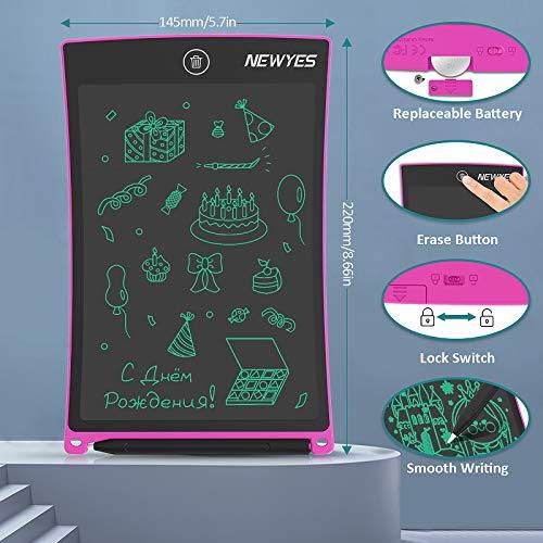 NEWYES 8,5 Zoll Zeichenbrett LCD Schreibtafel, Schreibplatte, Maltafel mit An/-Aus Knopf-Bildschirm Sperren zum Zeichnen, Schreiben & Rechnen, mit 1 String, 1 Magnete, 1 Stift, Rosa