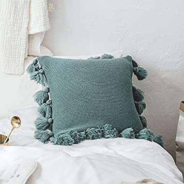 DOKOT Handmade Knitted Decorative Square Warm Throw Pillow Cover/Cushion Cover with Pom Pom Lantern Tassels (Turquoise)
