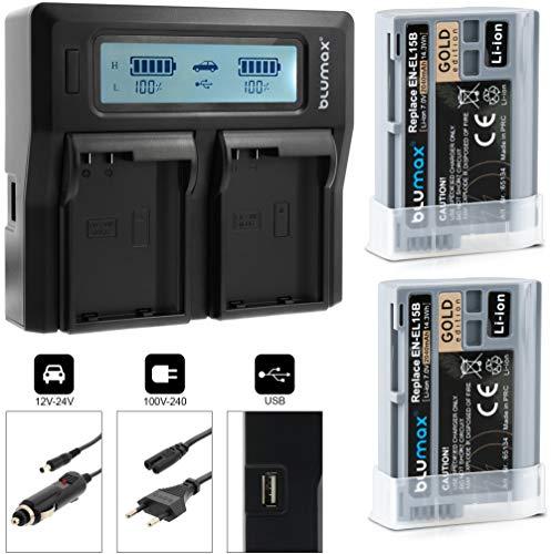 Blumax 2X Gold Editon Akku ersetzt Nikon EN-EL15b 2040mAh + LCD Dual-Ladegerät | kompatibel mit Nikon Z6 und Z7-7,0V 14,3Wh