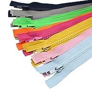YaHoGa 10PCS 28 Inch (71cm) Separating Jacket Zippers for Sewing Coat Jacket Zipper Heavy Duty Plastic Zippers Bulk 10 Colors Mixed (1pcs per Color)