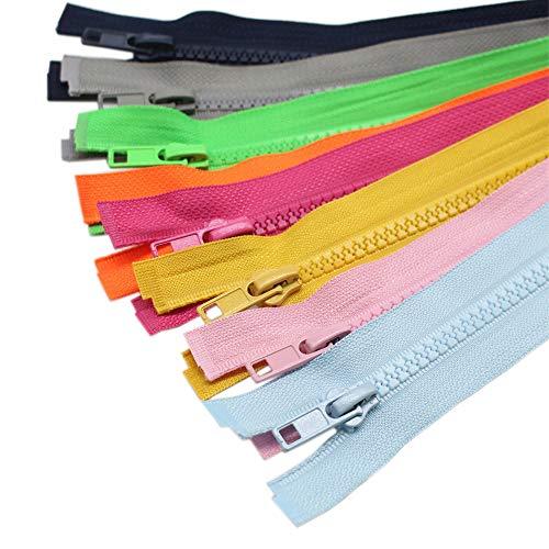 YaHoGa 10 Stück 75 cm Reißverschluss Kunststoff 5mm teilbar Reissverschluss für Jacken, 10 Farben