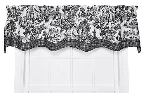 Victoria Park Toile Bradford Valence Window Curtain, 70 Inch - 15 Inch, Black