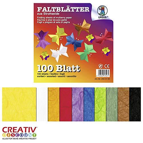 CREATIV DISCOUNT® NEU Strohseide-Faltblätter 100 Blatt, 13,5x13,5cm
