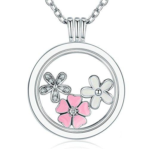 925 Sterling Zilver Poëtische Blooms, Gemengde Emaille & Duidelijke CZ Memories Drijvende Doos Kettingen & Hangers Luxe Sieraden