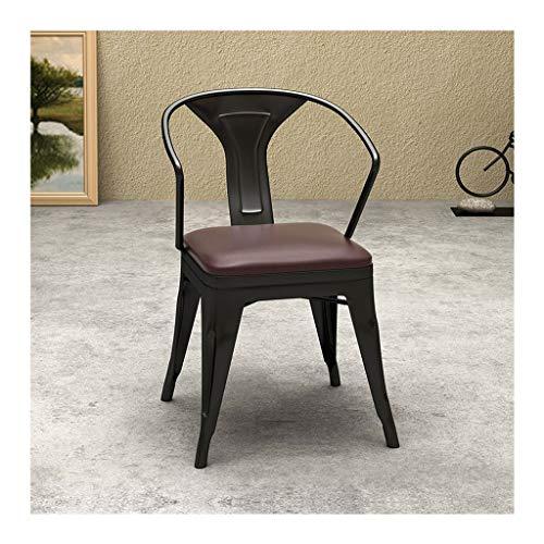 QZYQ Silla Comedor butacas sillas Salon Silla de Comedor de Hierro Forjado Retro Silla Silla de café de Madera Maciza (Size : A-4)