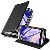 Cadorabo Hülle für HTC ONE M8 (2.Gen.) - Hülle in Nacht SCHWARZ – Handyhülle mit Magnetverschluss, Standfunktion & Kartenfach - Case Cover Schutzhülle Etui Tasche Book Klapp Style