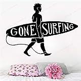 JXFM 102x75cm 3D DIY Sport Wandtattoo Surf Beach Vinyl Wandaufkleber Kegel Surf Dekoration Home Schlafzimmer Dekoration Surfer Art Wandbild