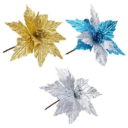 NUOBESTY 3 Piezas Glitter Flor de Navidad Poinsettias Decoraciones para árboles de Navidad Adornos Manualidades de Navidad (Oro Plata Azul)