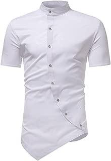 Realdo Mens Solid Asymmetry T-Shirt, Slim Short Sleeve Stand Collar Button Down Hem Splice Tops