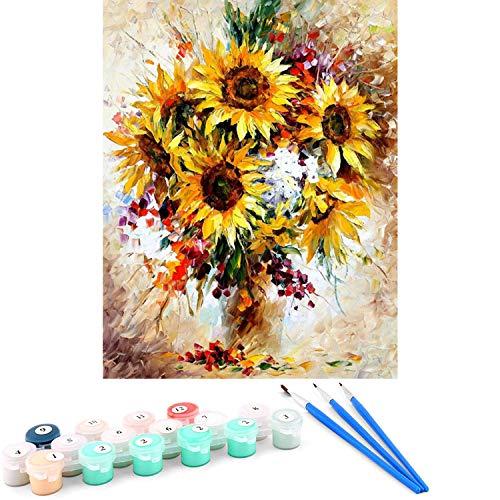 MingHing Pintura de Bricolaje números Pintura al óleo Pintada a Mano sobre Lienzo para Adultos y niños Principiantes - 16 x 20 Pulgadas