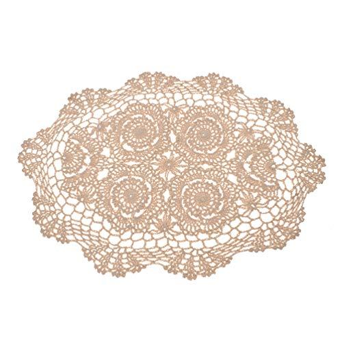 Kesheng Tapete Crochet para Mesa Camino Mesa Encaje Floral V