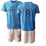 JEEG 20/21 Kinder Jugend GUNDOGAN 8# Manchester City Fußball Trikot und Shorts (Kinder Größe 4-13 Jahre) (20)
