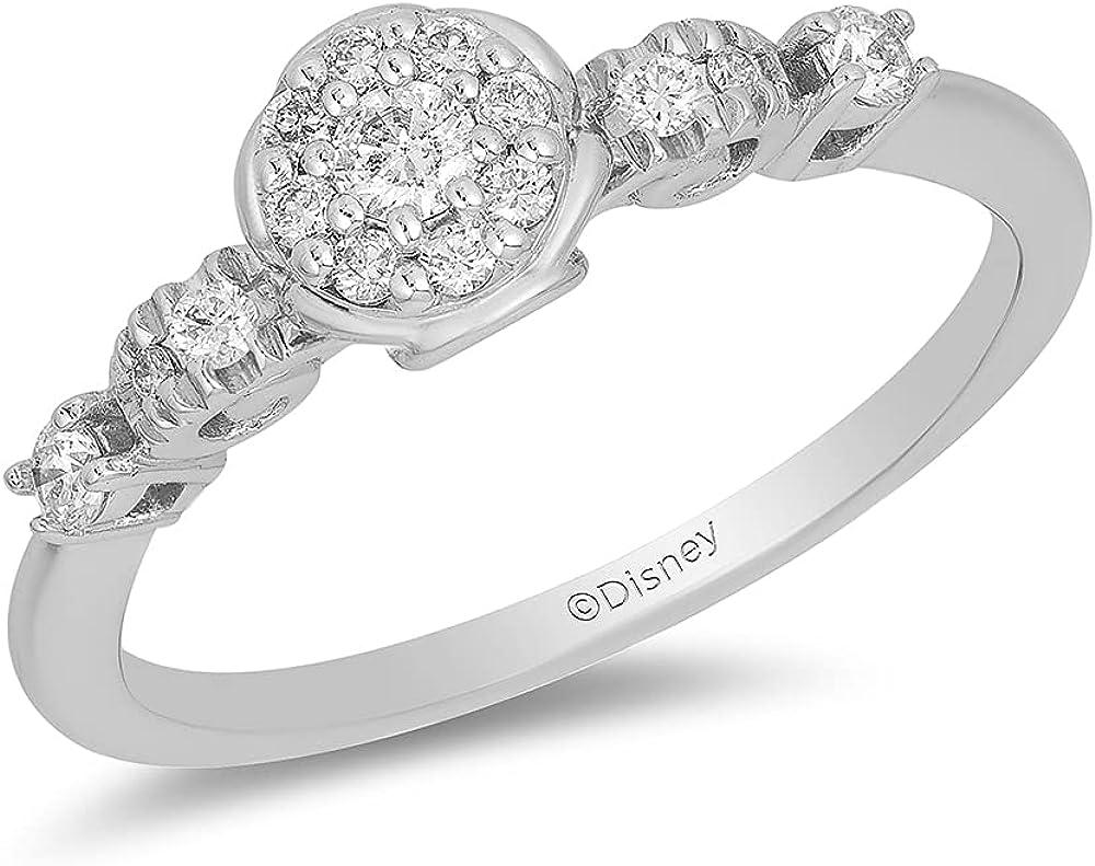Jewelili Enchanted Disney Fine Jewelry 10K White Gold 1/4 Cttw Cinderella Engagement Ring