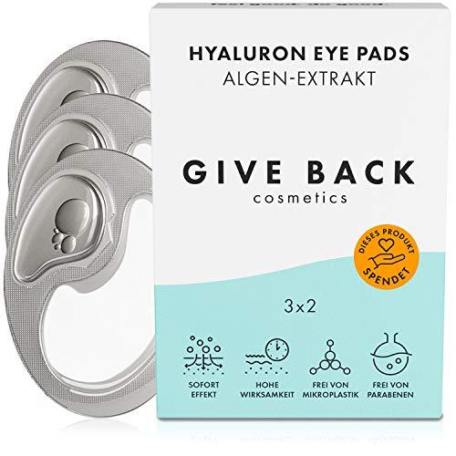 Vegane Hyaluron Augenpads gegen Augenringe - Eye Pads mit Anti-Aging-Effekt die auch Tränensäcke entfernen [Made in Germany] Wirken als Anti Falten Pads und Augen Kühlpads - 3 Paar - SOZIALE PROJEKTE