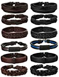 Jstyle 12Pcs Braided Leather Bracelet for Men Women Cuff Wrap Bracelet Adjustable Black and Brown (A:12Pcs)
