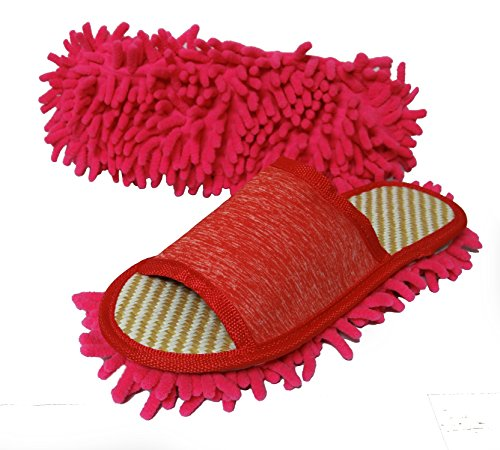 Friendly House Women's Microfiber Floor Cleaning Mop Slippers (Red,M)