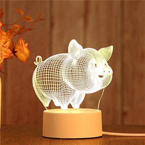 Nachtlicht Kreatives 3D-Nachtlichtgeburtstagsgeschenk führte Tischlampe-3d Schwein nachtlicht steckdose bewegungsmelder nachtlicht steckdose