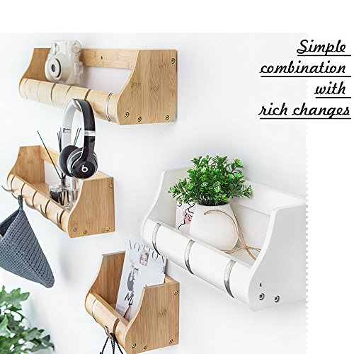 Freedom Bamboo Wall Hanging Shelf with Zinc Alloy Hooks, Solid Hanging Rack for Bathroom, Bedroom, Hallway and Living Room (20 inches, Wooden Color)