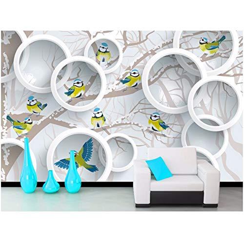 Pmhhc Aangepaste Behang 3D Bomen en Vogels Gebruikt voor Zitkamer Sofa Slaapkamer Muur Waterdicht Vinyl Welke Behang 450x300cm