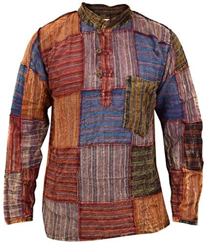 Little Kathmandu Herren Baumwolle Patchwork Gestreift Hemd XX-Large