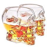 Lucky Shot USA .308 Head Shot Handmade Shot Glass | Skull w/Copper Bullet | 2 oz Lead Free Borosilicate Glass Set (2)