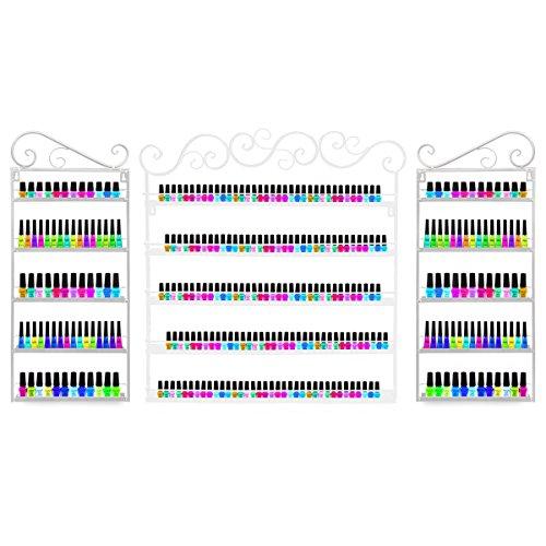 3-in-1 Wandmontiertes Metallregal für Nagellacke, für ätherische Öle, für mehr als 200 Flaschen, Weiß