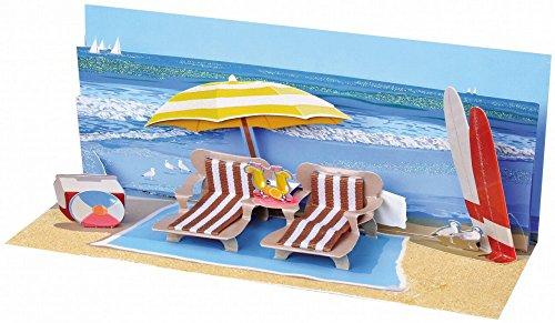 PopShots Studios Pop Up Geburtstag Karte 3D Badeurlaub Panorama 10x23 cm