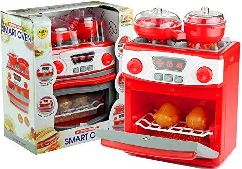Lean Toys Backofen Sound&Licht großes Zubehör Rollenspiel Küchenherd Spielzeug Gerät