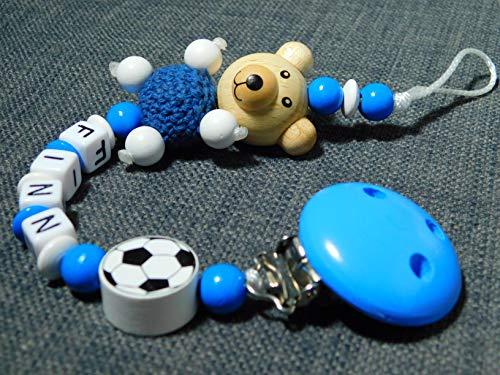 Schnullerkette mit Namen mit Bär und Fußball
