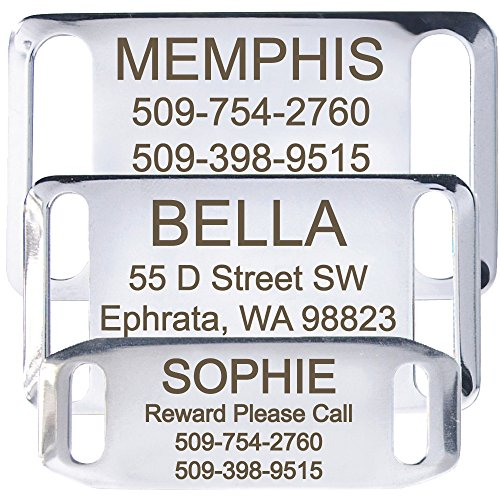 GoTags Pet ID Slide-On Personalized Dog & Cat Tags. Silent, No Noise Collar Tags made of Stainless Steel. Custom Engraved. Includes up to 4 Lines of Personalized Text., Small