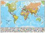 Maps International - Mapa del mundo con banderas - Laminado - 84,1 cm de ancho x 59,4 cm de alto
